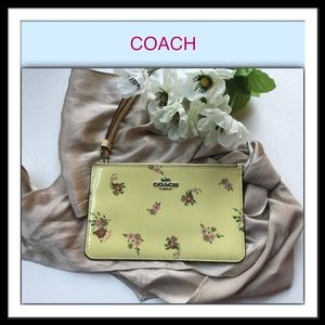 Coach Patent Leather Yellow Floral Wristlet